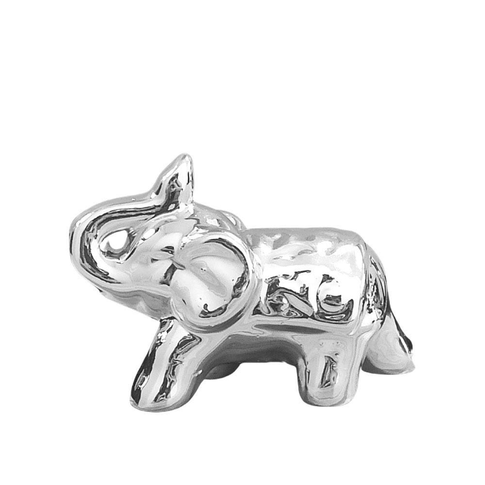 Elefante Em Cerâmica Médio Prata - 9cm