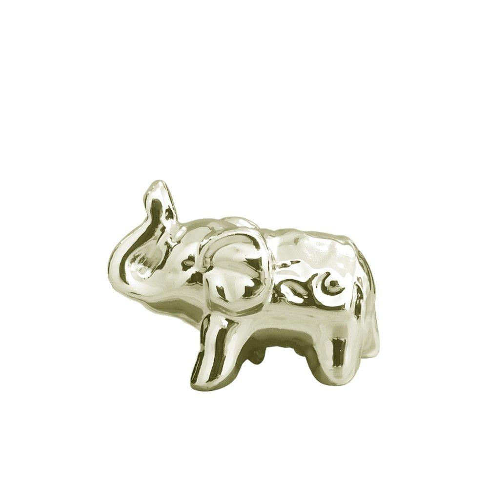 Elefante Em Cerâmica Pequeno Dourado - 5cm