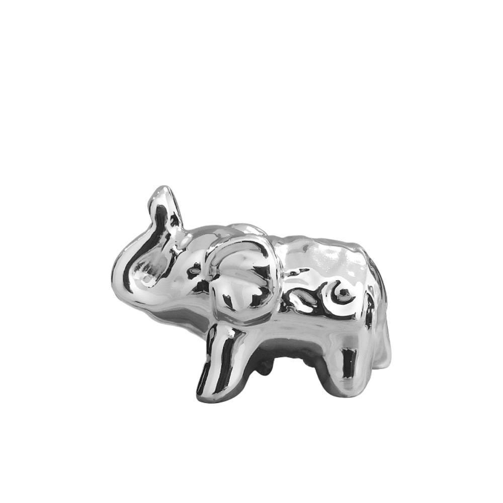 Elefante Em Cerâmica Pequeno Prata - 5cm