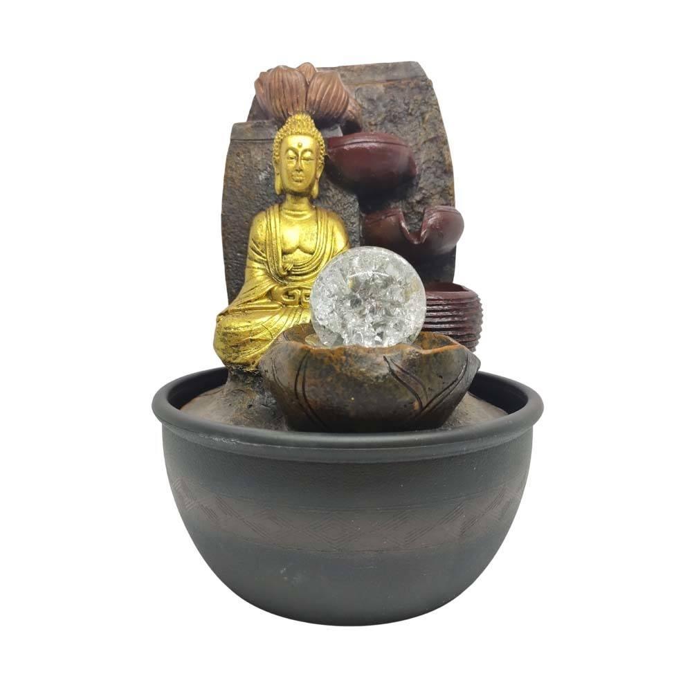 Fonte de Decoração Feng Shui Buda 5 Quedas Com Led Bivolt