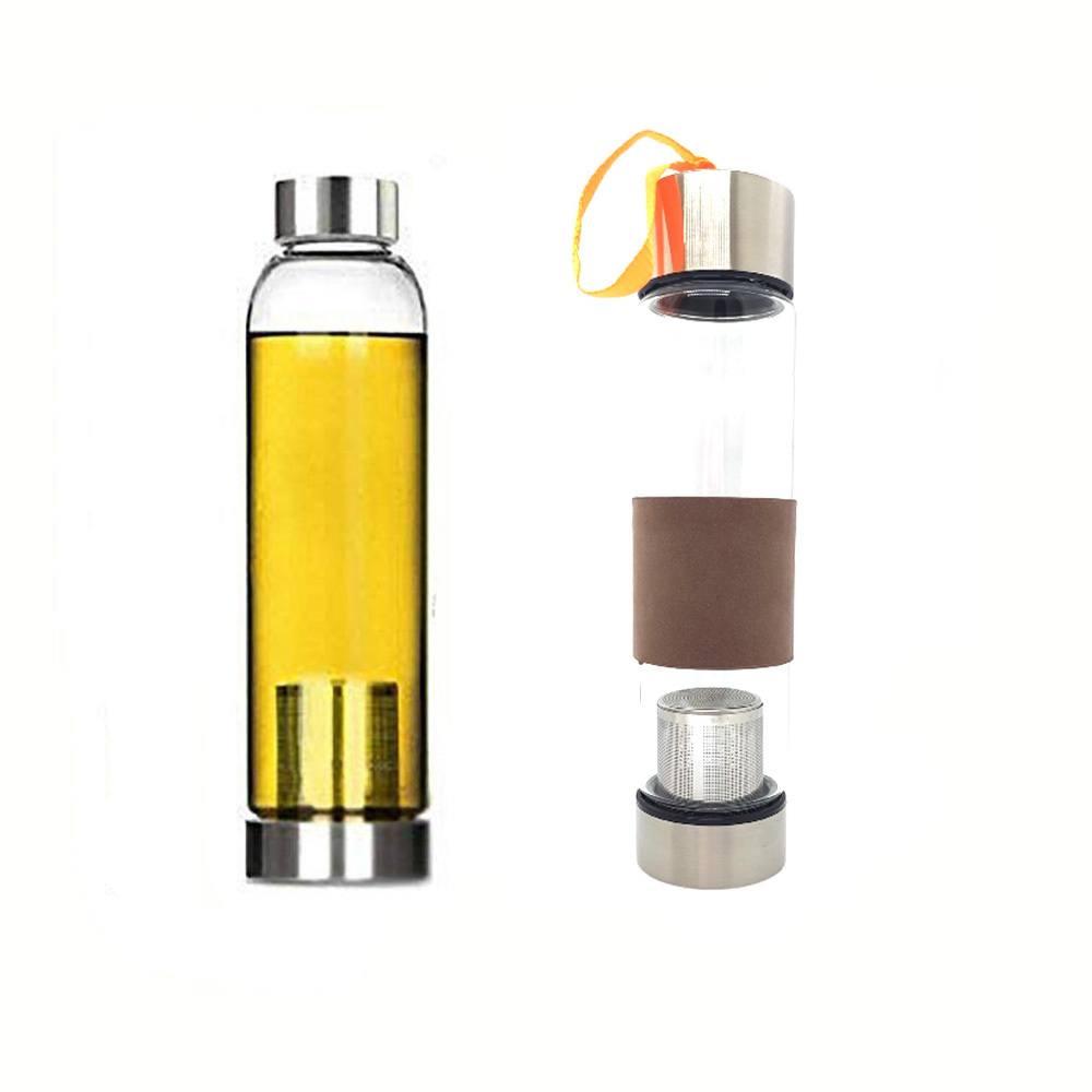 Garrafa Squeeze Vidro - Infusor Inox - Capa Marrom - 400ml