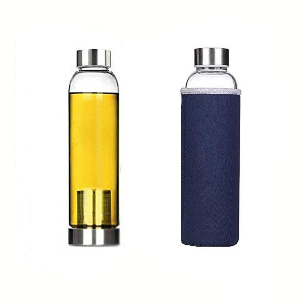 Garrafa Squeeze Vidro - Infusor Inox - Capa Neoprene Azul