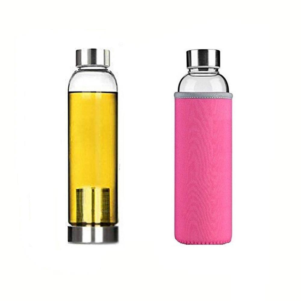 Garrafa Squeeze Vidro - Infusor Inox - Capa Neoprene Rosa
