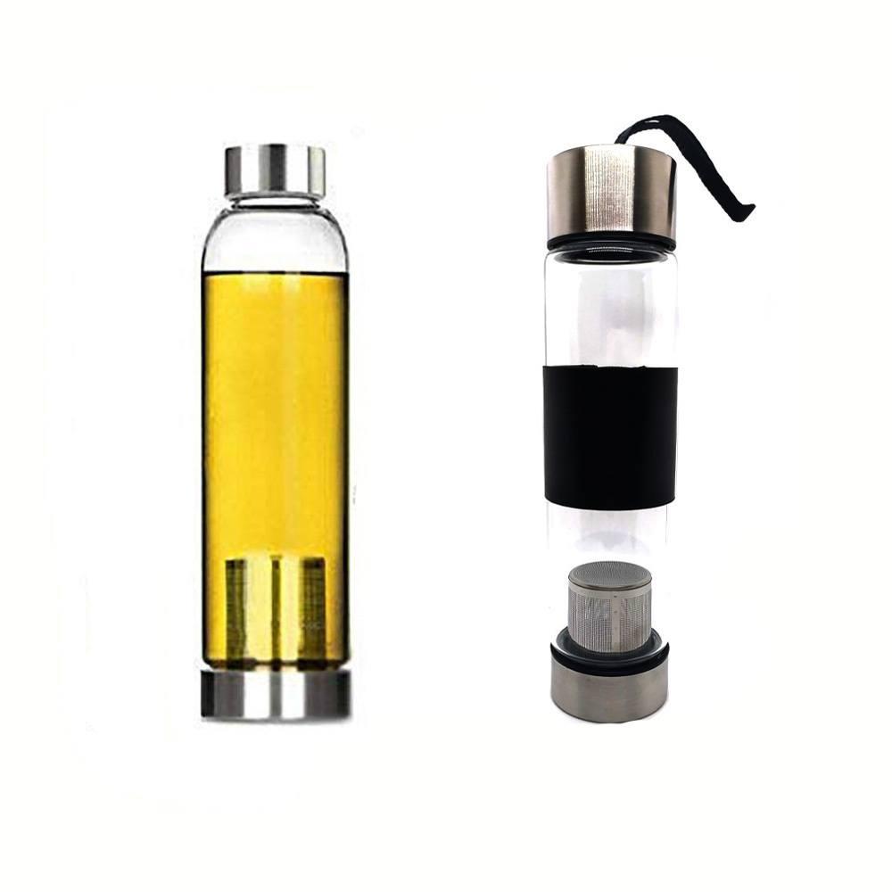 Garrafa Squeeze Vidro - Infusor Inox - Capa Preta - 400ml