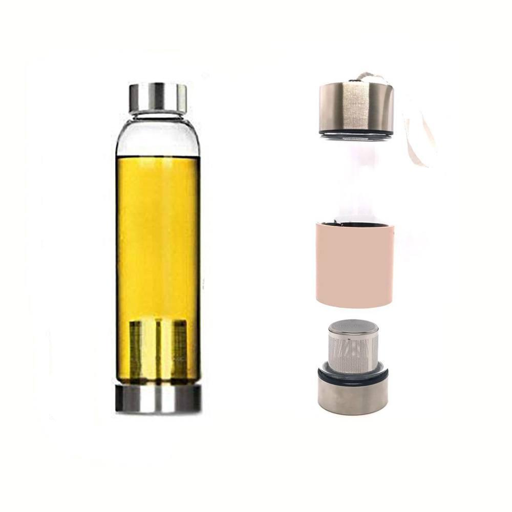 Garrafa Squeeze Vidro - Infusor Inox - Capa Rosa - 400ml