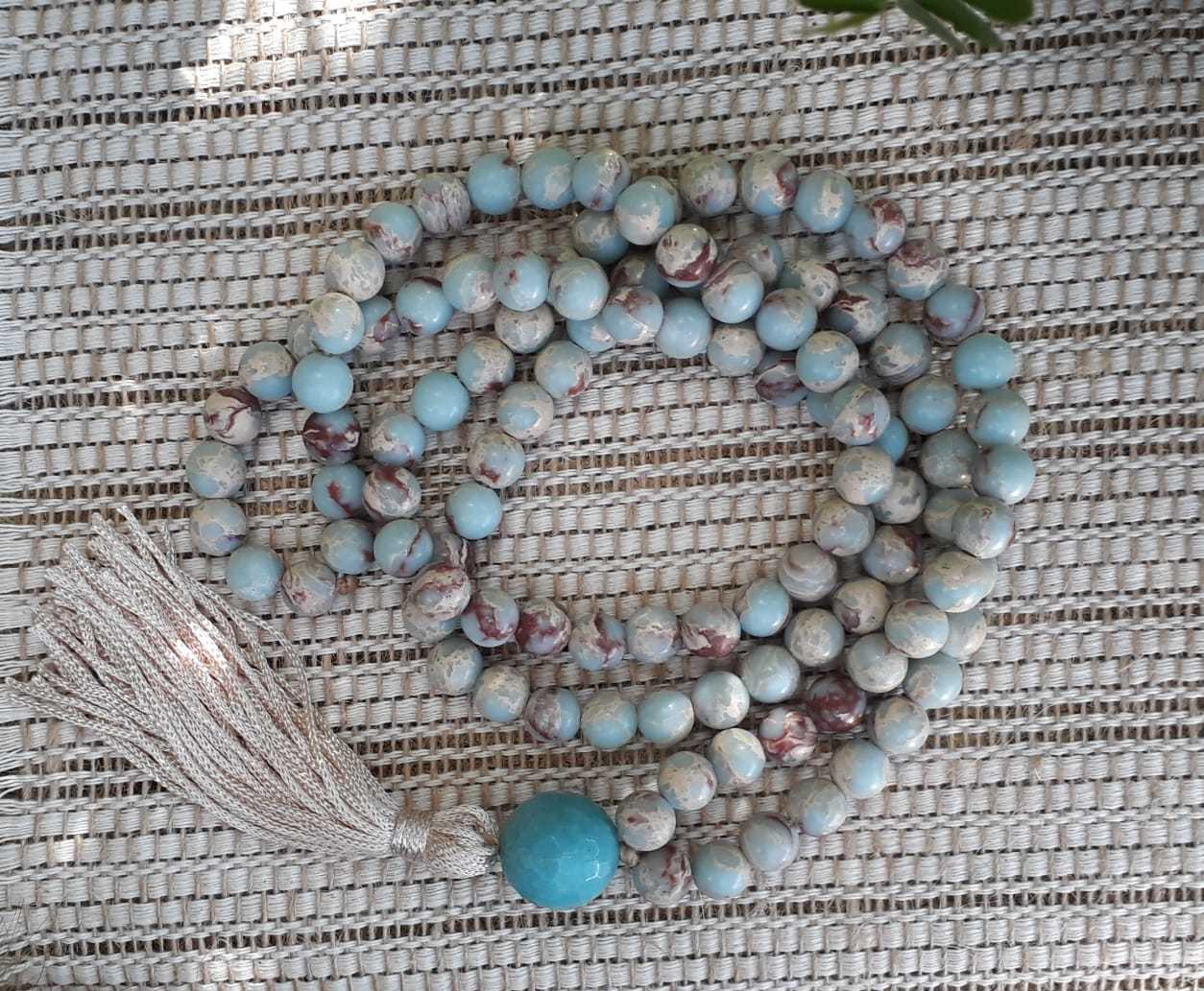 Japamala 108 contas de pedra jaspe azul desértica