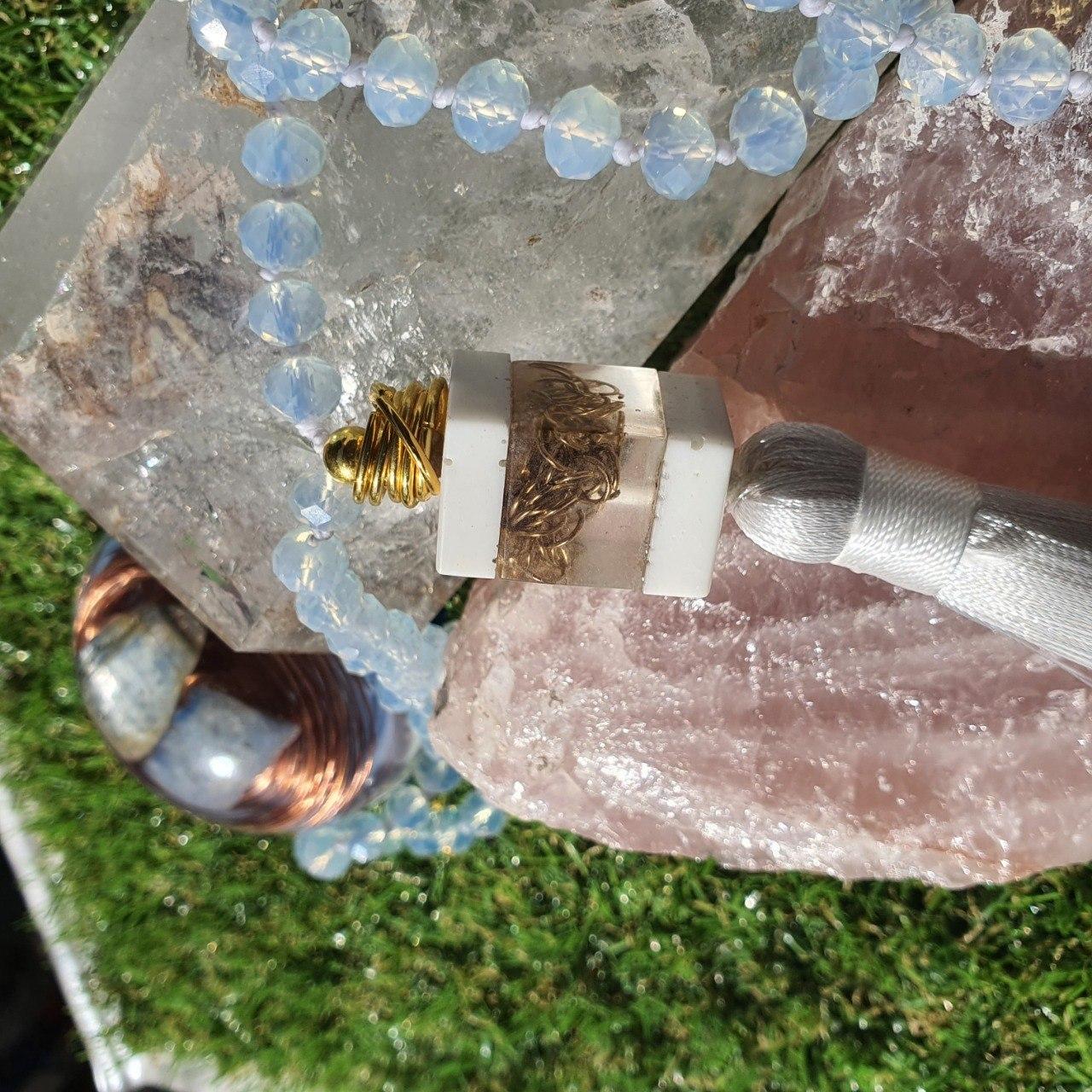 Japamala de Cristal com Orgonite - Branco Neve