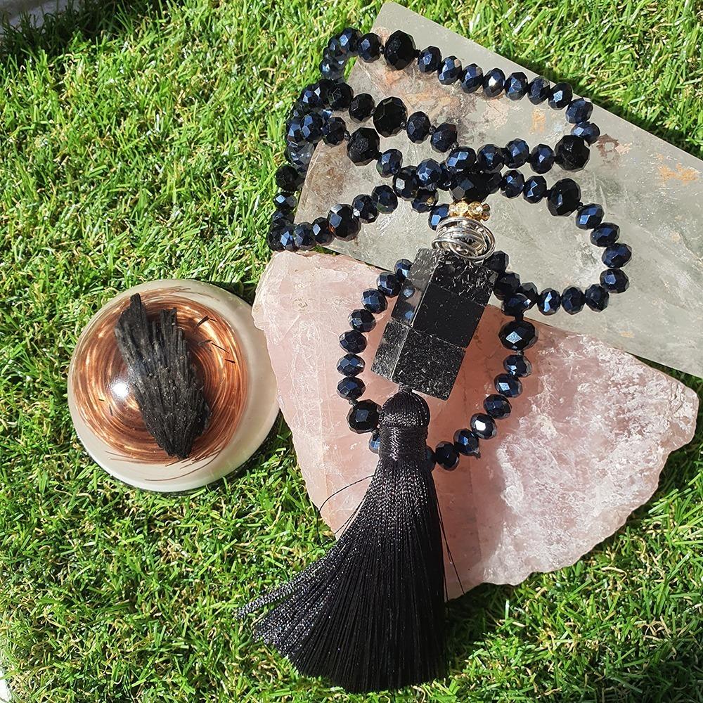 Japamala de Cristal com Orgonite - Negro