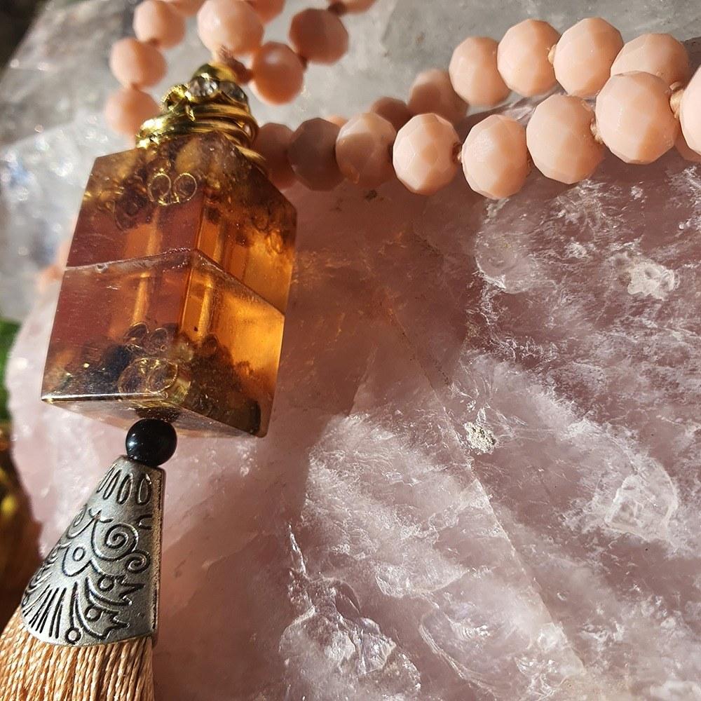 Japamala de Cristal com Orgonite - Salmão