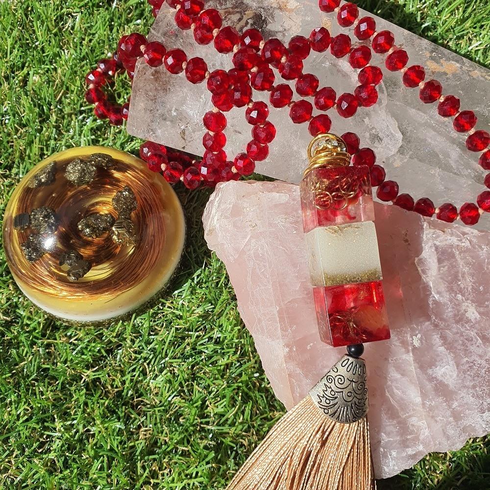Japamala de Cristal com Orgonite - Vinho