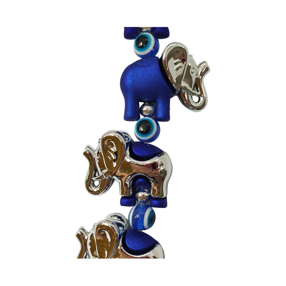 Móbile Elefante Azul e Prateado com Flange de Olho Grego