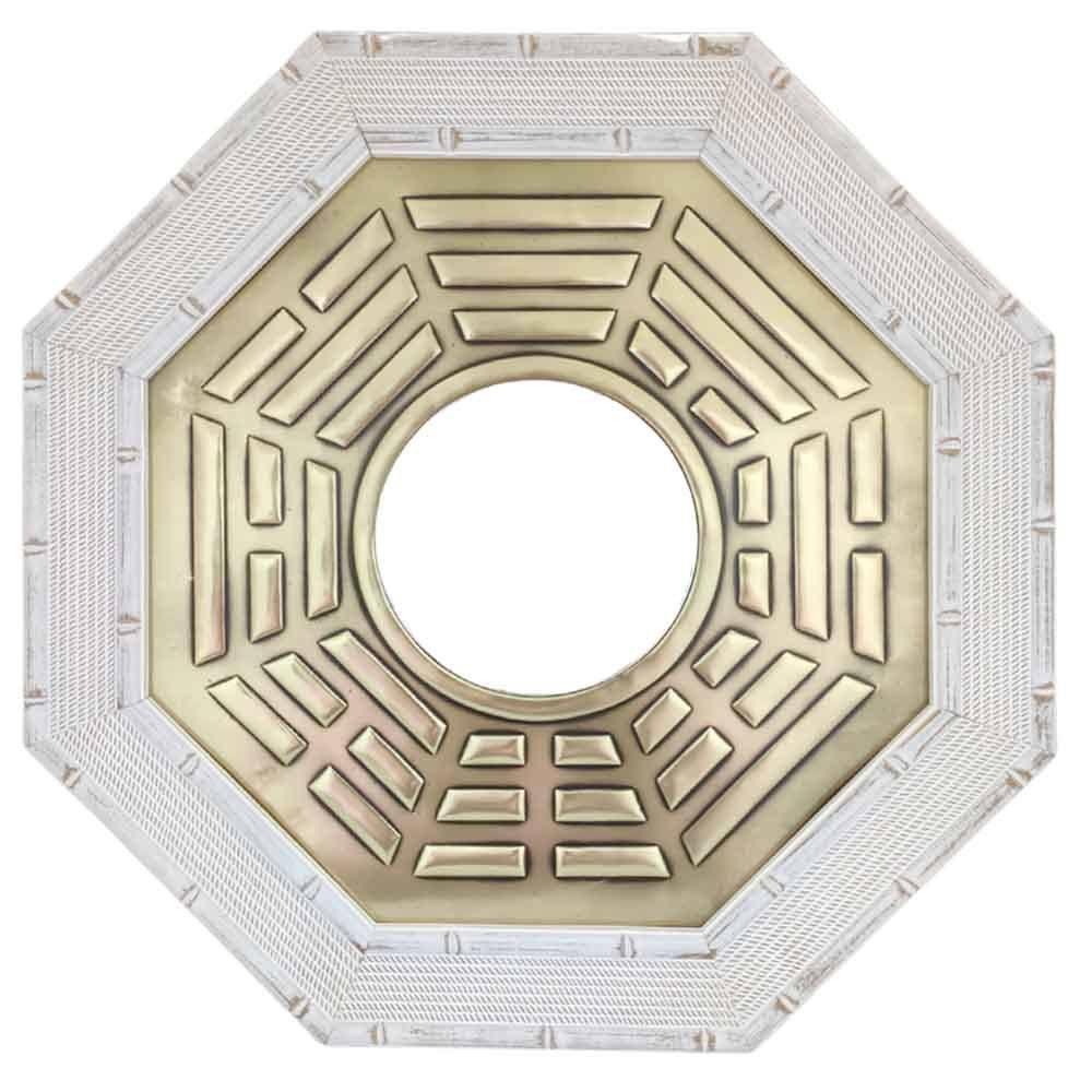 Quadro Baguá Céu Anterior Espelho Convexo Moldura Clara 37cm