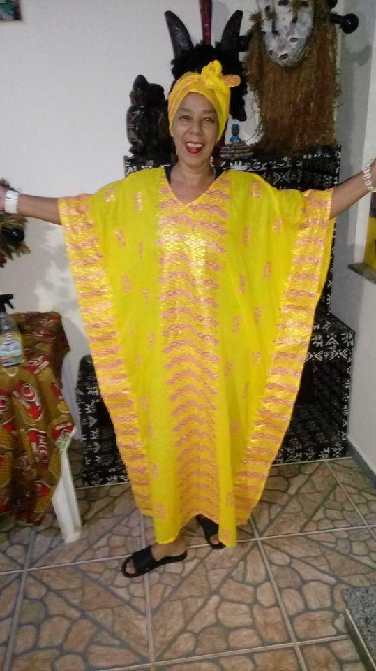 ALAKA LONGO TECIDO NIGERIANO LUXO Amarelo