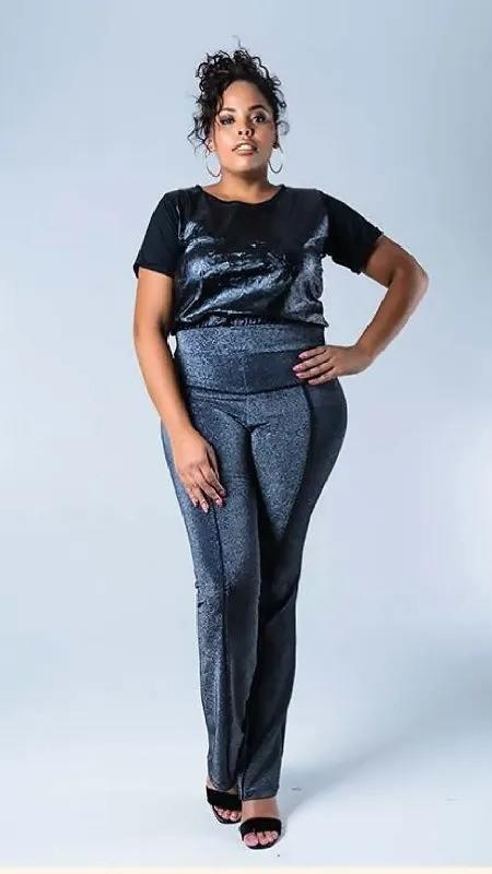 Calça Flare Feminina Plus Size  Lurex