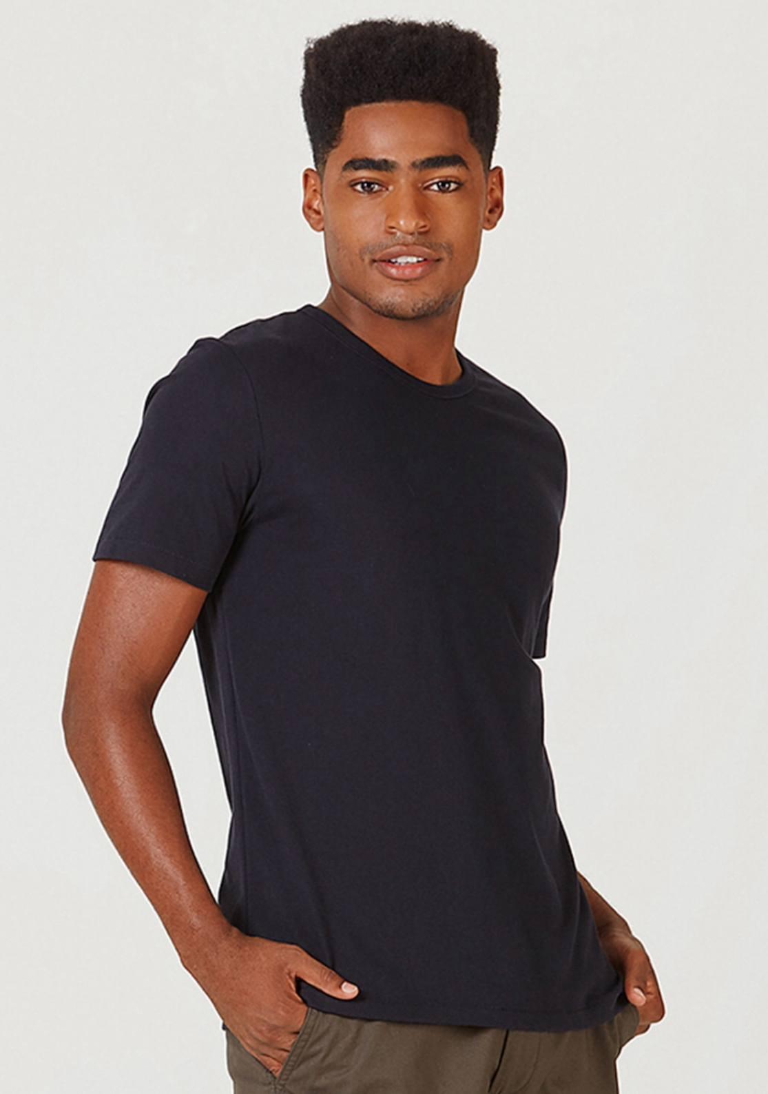 Camisa Básica Masculina Slim Mangas Curtas - Preta