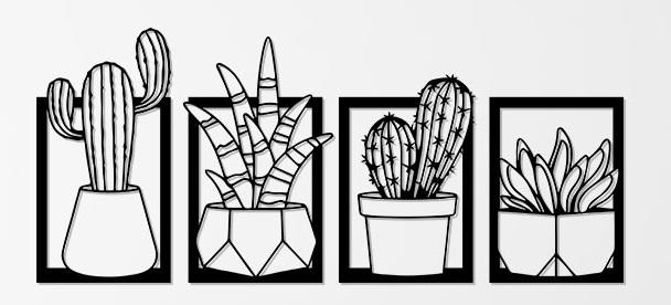 kit 4 quadros Cactus em mdf