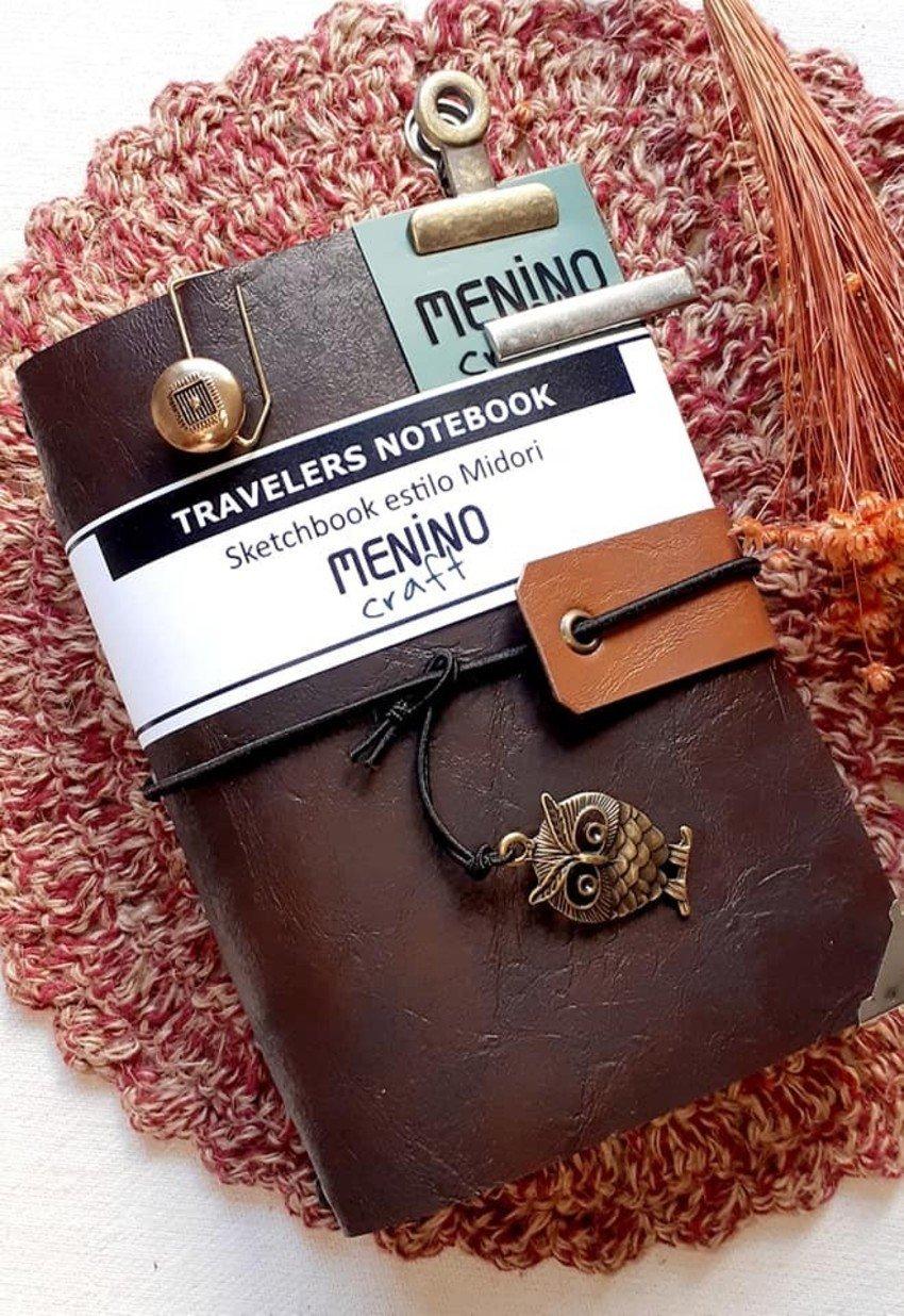 Mini Notebook Marrom Perugia Dark A6 | Menino Craft - tipo Midori