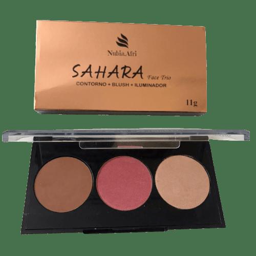 Paleta de Contorno Blush Iluminador SAHARA Face Trio Nubia.Afri by DaMinhaCor