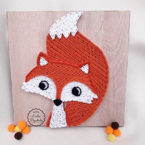 Quadro decorativo raposa em string art