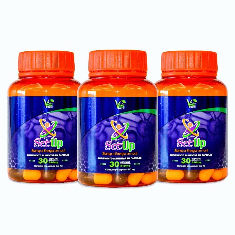 SetUp estimulante energético natural Vida Maxxi - Kit c/3