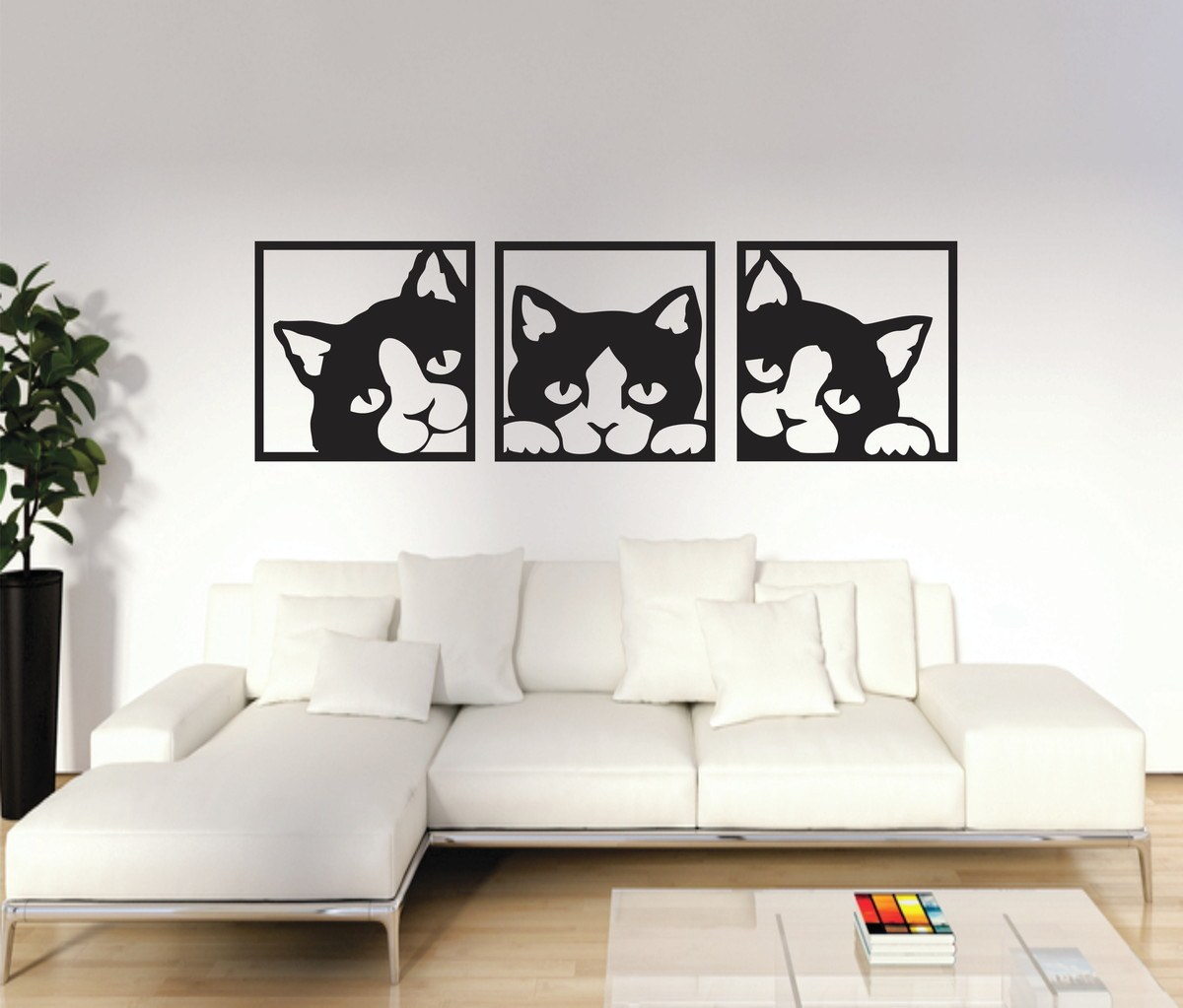 Trio de Quadro Gatinho