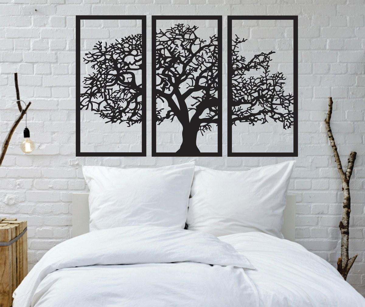 Trio de Quadros Árvore 55x38cm