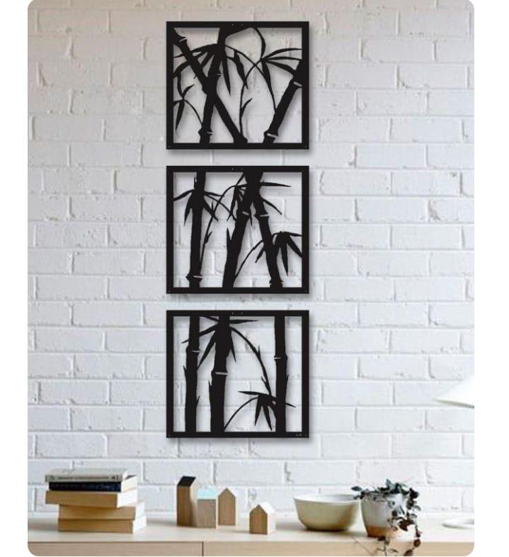 Trio de quadros Bambú