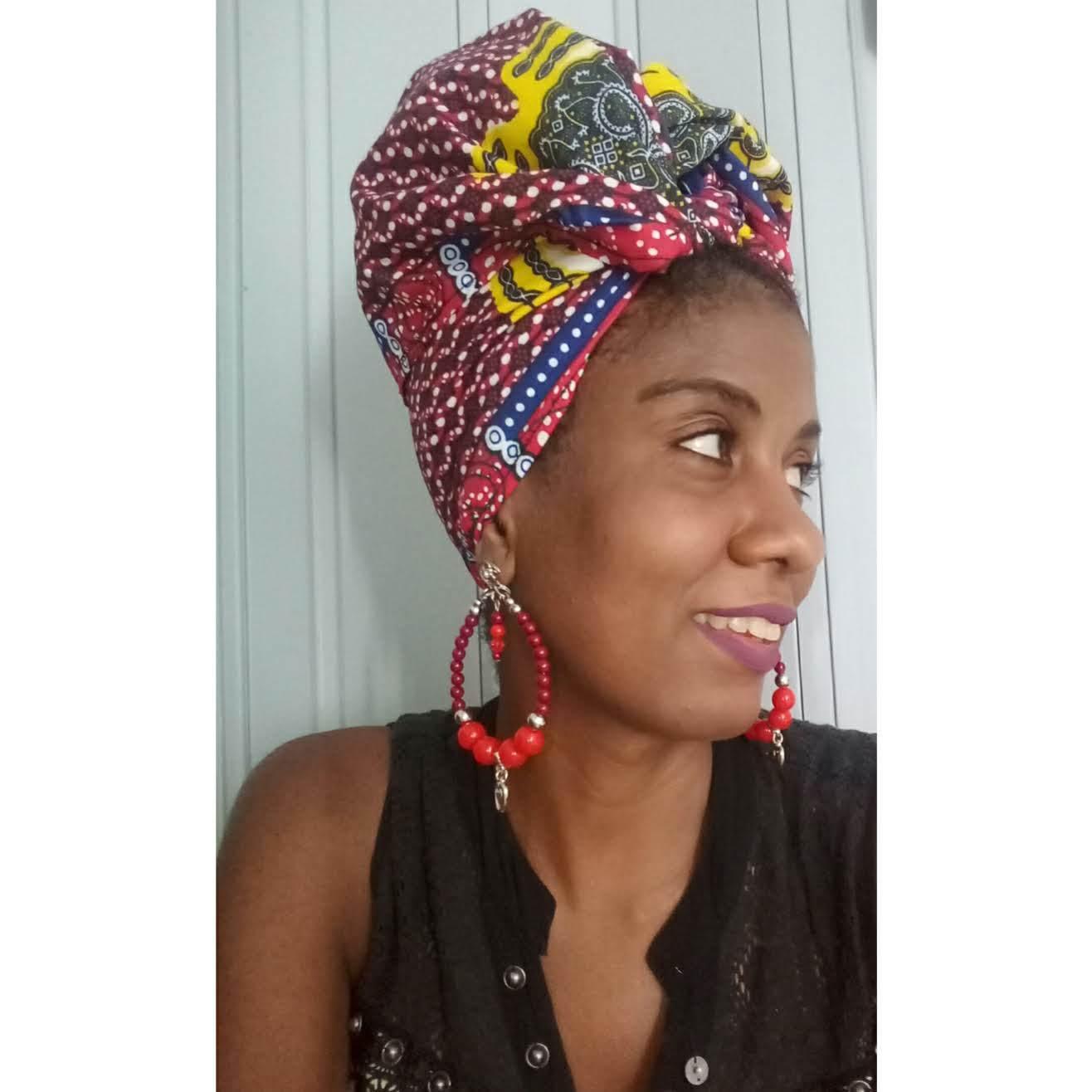 Turbante afro em tecido africano e brinco