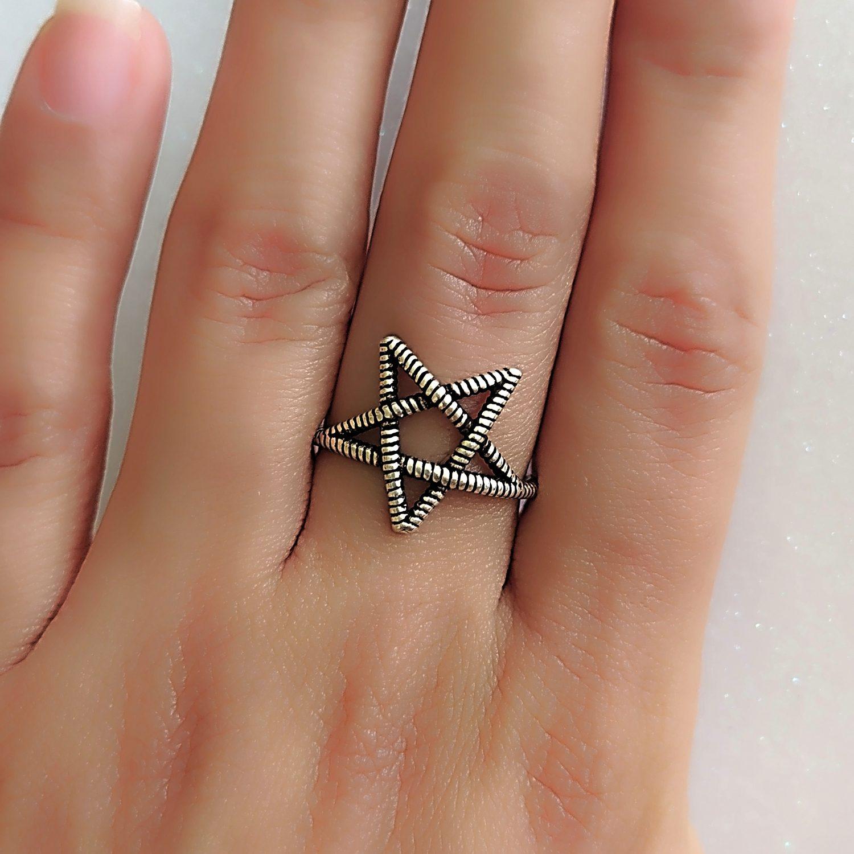 Anel pentagrama ajustável - Prata 925