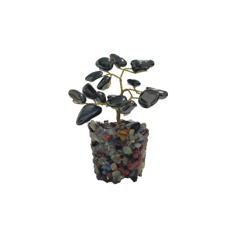 Árvore de Pedra Hematita Base Mix de Cristais 9cm