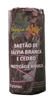 BASTÃO SALVIA BRANCA COM CEDRO  PARA PROTEÇÃO ESPIRITUAL E RIQUEZA 25g + BRINDE