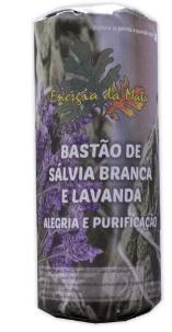 BASTÃO SALVIA BRANCA COM LAVANDA  PARA ALEGRIA E  PURIFICAÇÃO (25g) + BRINDE