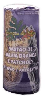 BASTÃO SALVIA BRANCA COM PATCHOULI  PARA  PROTEÇÃO E AUTO ESTIMA 25g + BRINDE