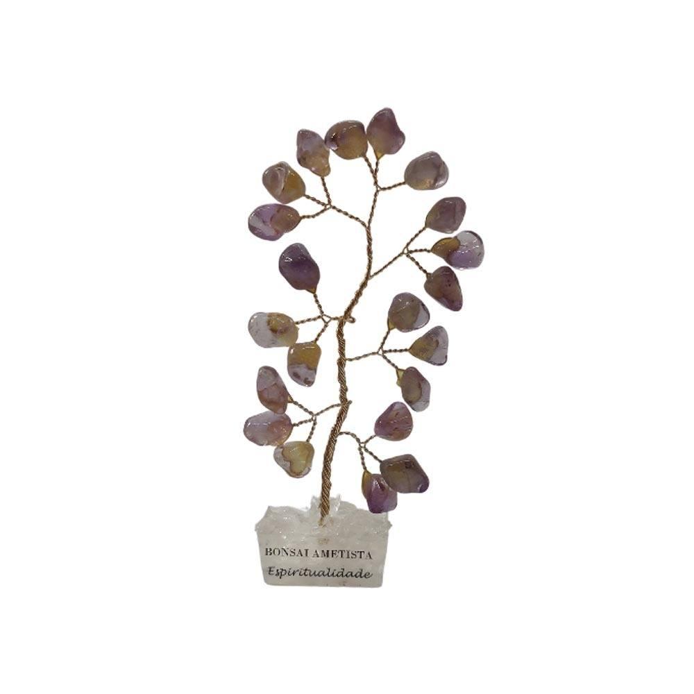 Bonsai Pedra Ametista Base Cristais 10cm - Espiritualidade