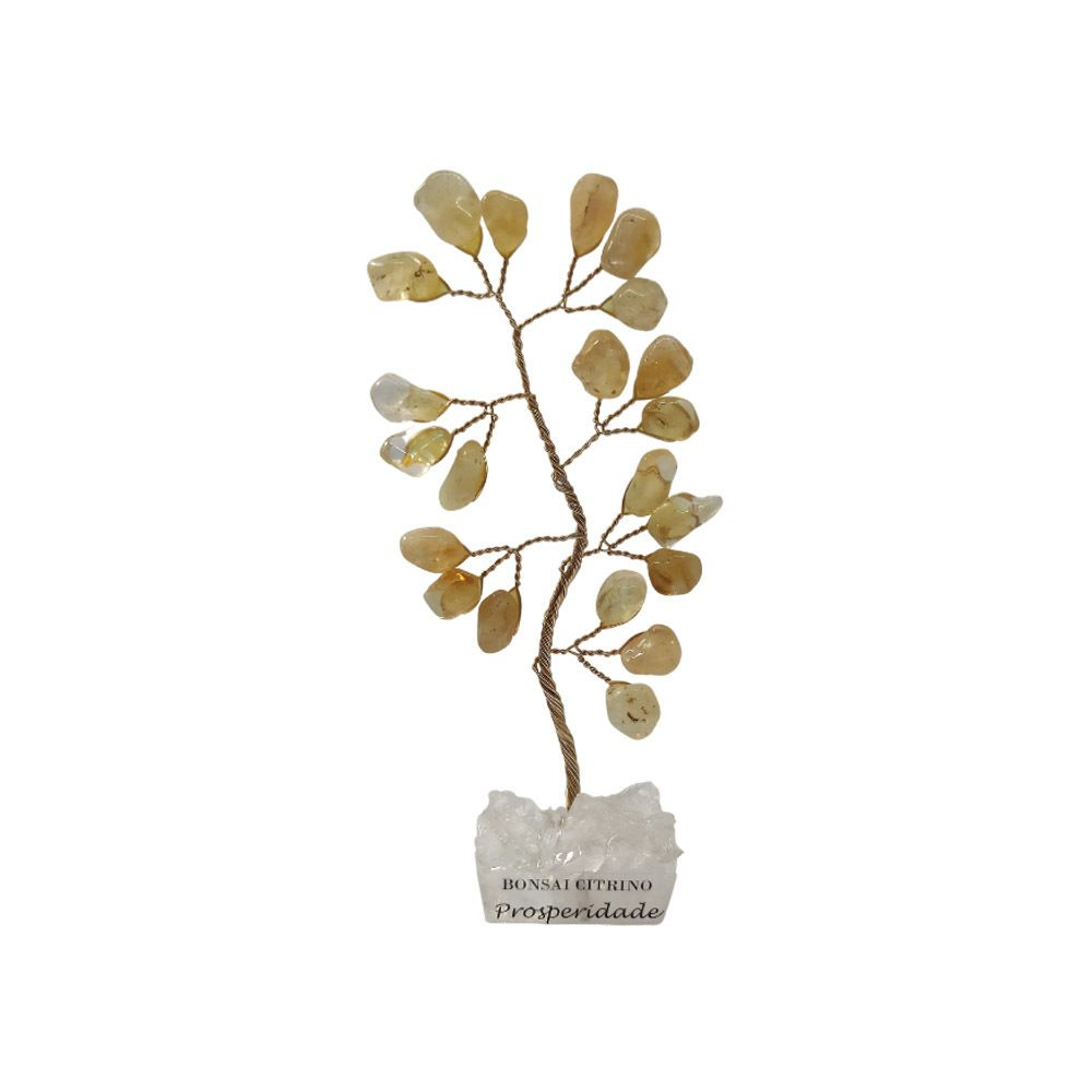 Bonsai Pedra Citrino Base Cristais 10cm - Prosperidade
