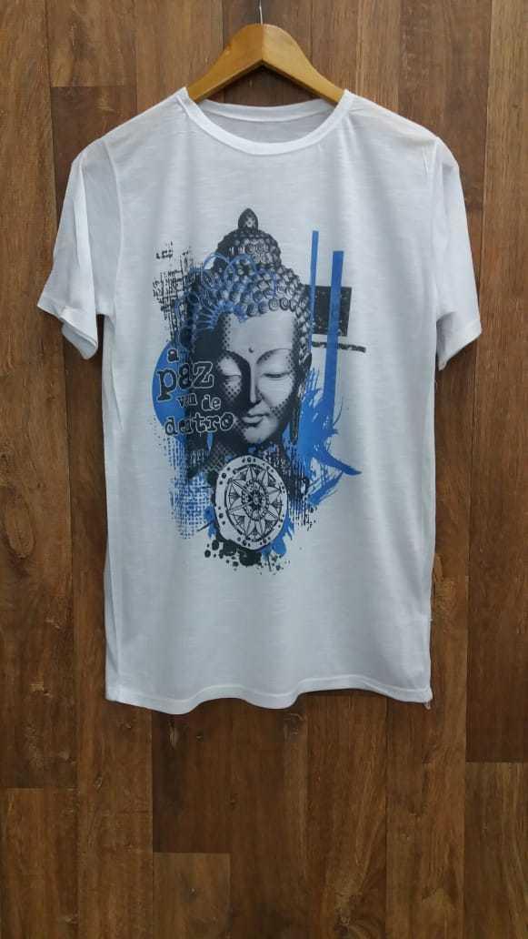 camiseta Buda em tons de azul e cinza