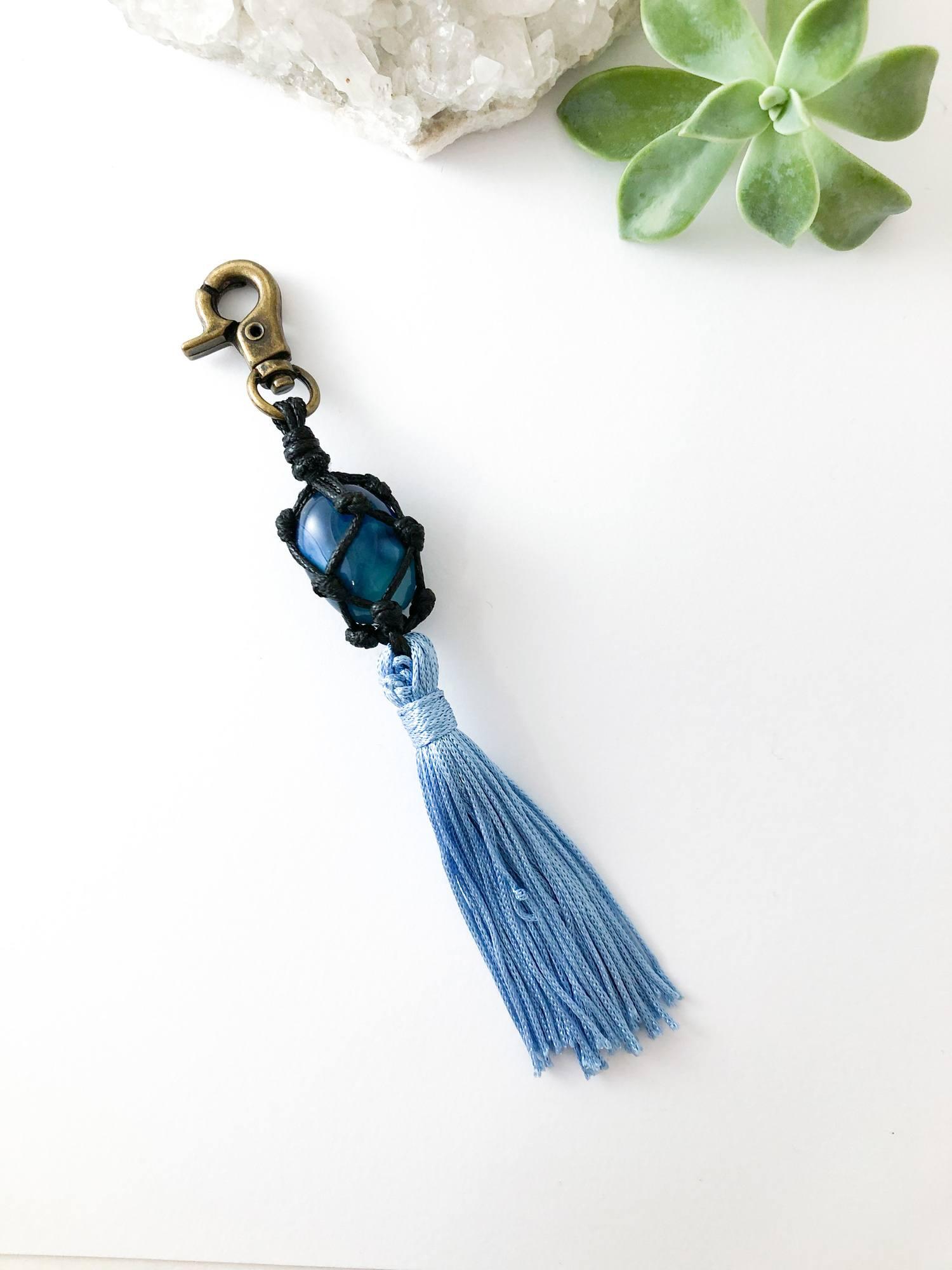 Chaveiro Ágata Azul - Equilíbrio