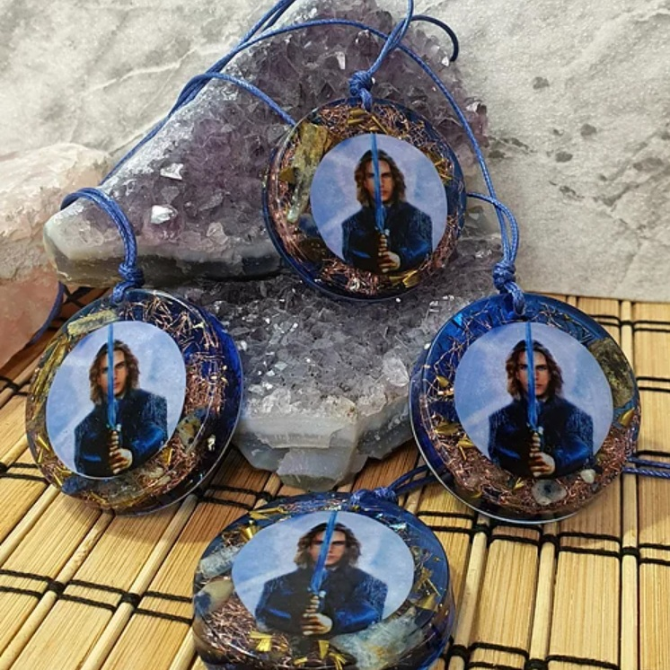 Colar Protetor com Arcanjo Miguel - Cianita Azul
