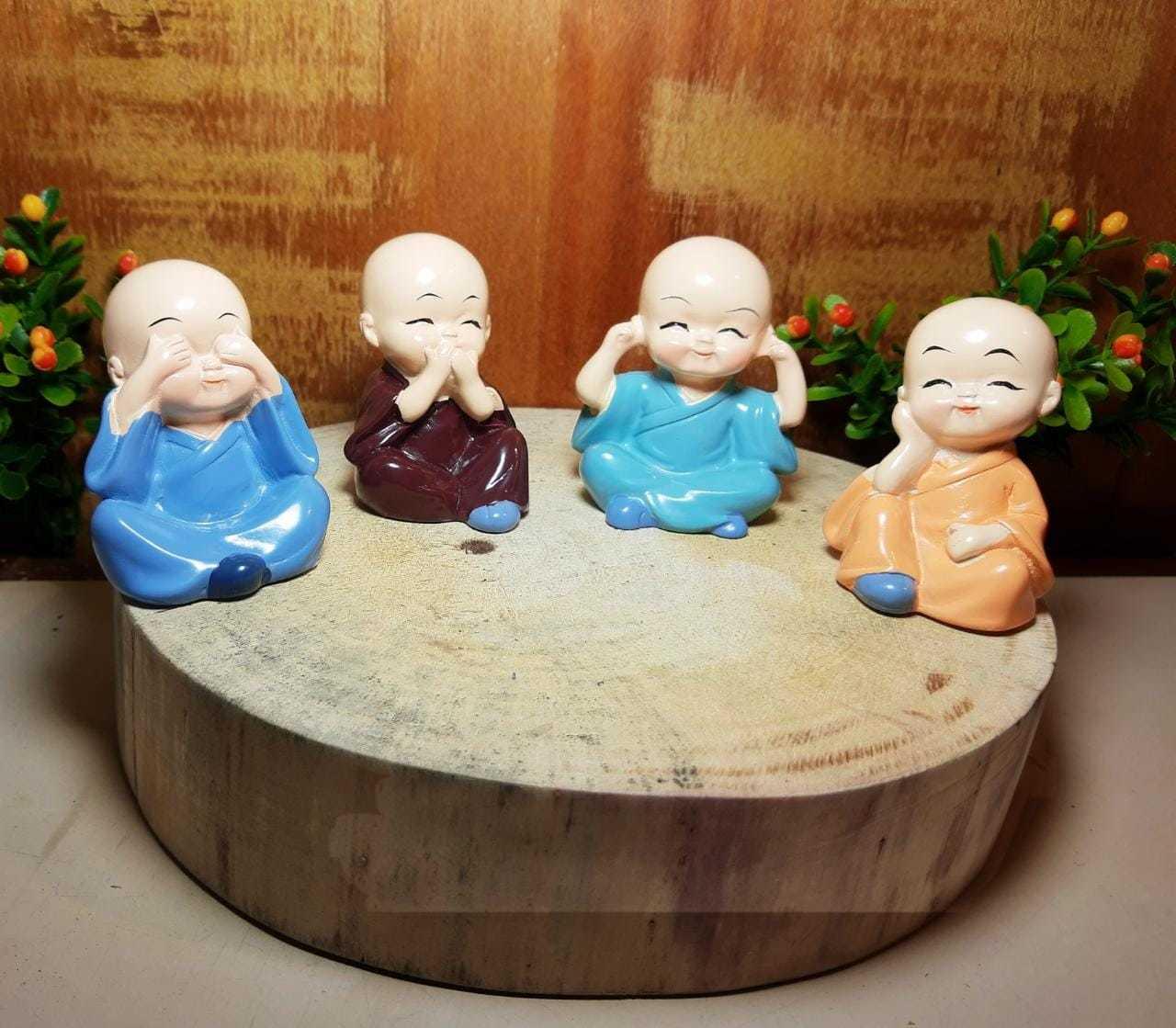 Conjunto de monge bebê - não vejo, falo, escuto e faço o mal