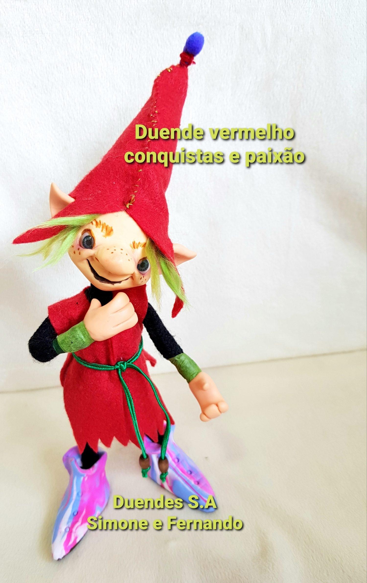 DUENDE MENINO  ARTICULADO/ VERMELHO,CONQUISTAS E PAIXÃO