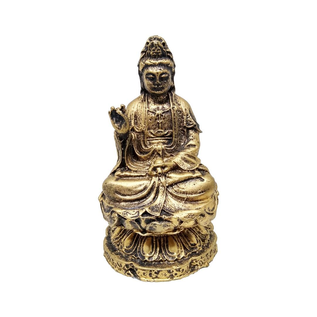 Estatueta Kuan Yin Dourada Pequena