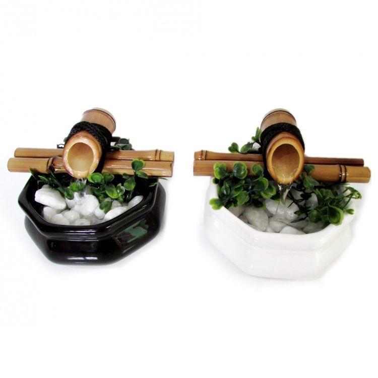 Fonte de Água Baguá Feng Shui em Cerâmica e Bambu (13cm)