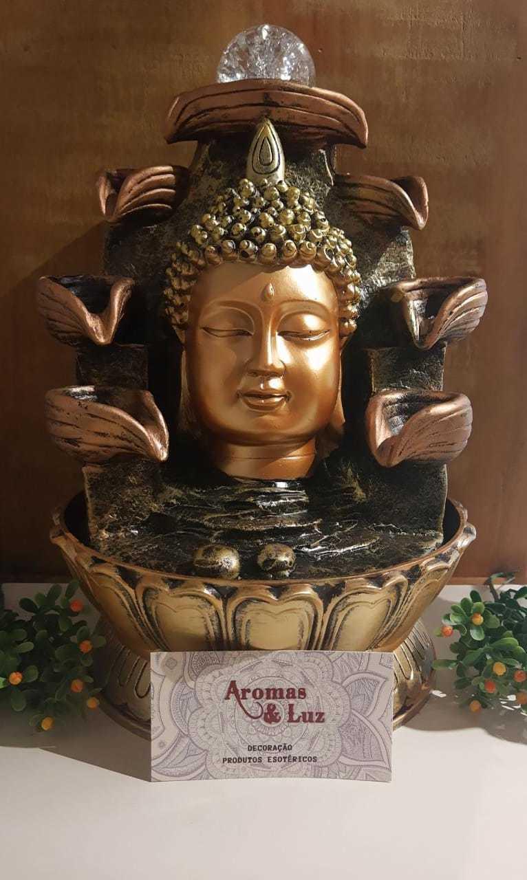 Fonte de água busto do Buda duas quedas - com led - 30cm