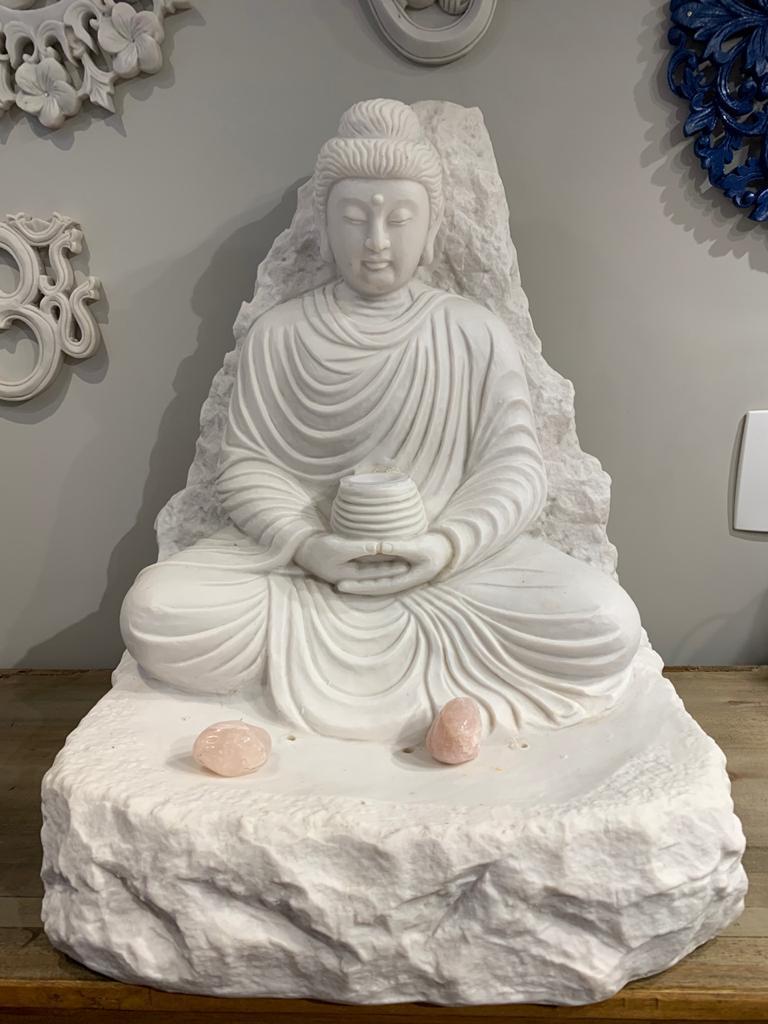 Fonte de água Marmorite Buda meditação - 50cm