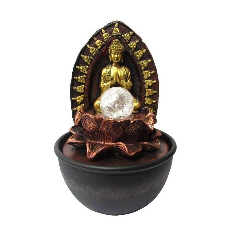 Fonte de Decoração Feng Shui Buda 2 Quedas Com Led Bivolt