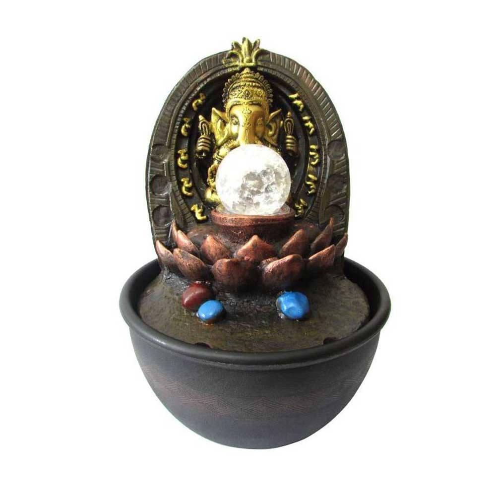 Fonte de Decoração Feng Shui Ganesha Com Led Bivolt