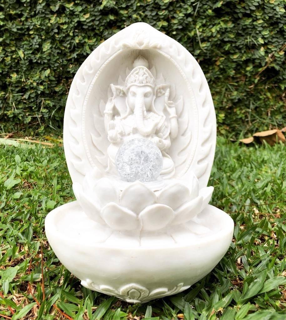 Fonte Ganesha Marmorite - Deuses Indianos com Luz de Led