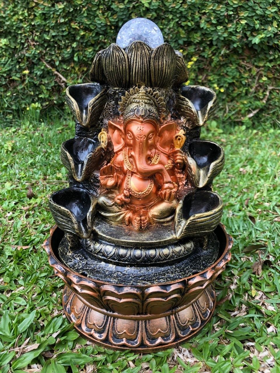 Fonte Ganesha Cascata - Deuses Indianos com Luz de Led