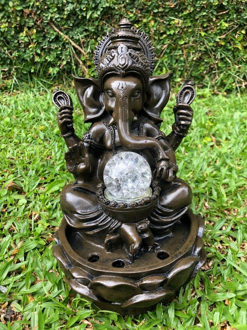 Fonte Ganesha Preto - Deuses Indianos com Luz de Led