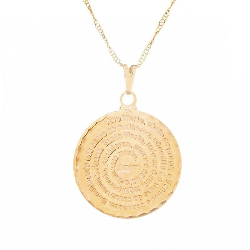 Gargantilha Medalha Ave Maria (25mm)